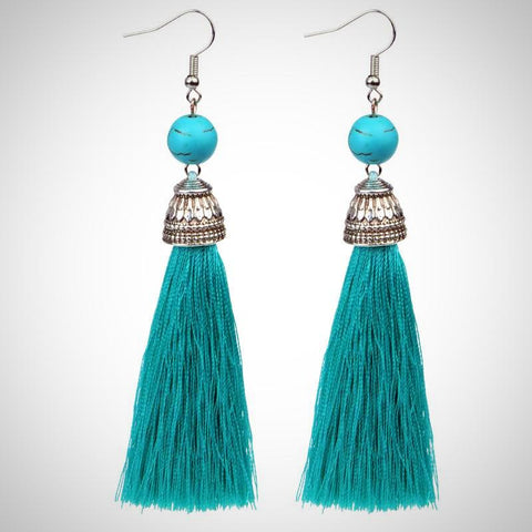Twisted Wire - Tibetan Tassel Earrings