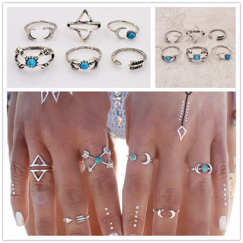 Twisted Wire Sun & Moon Ring-Set 9