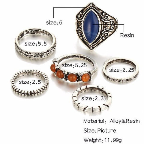 Twisted Wire Vintage Tibetan Silver color Ring Set Sizing Chart