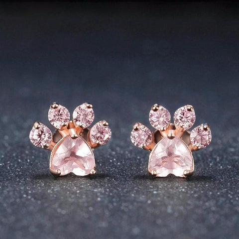 Twisted Wire Rose Quartz Paw Earrings