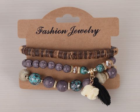 Twisted Wire Multi-Layered Wood & Bead Bracelets with Tassel4