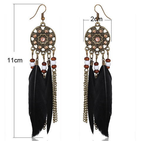 Twisted Wire - Long Feather Chain Tassel Earring Size