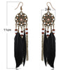 Image of Twisted Wire - Long Feather Chain Tassel Earring Size