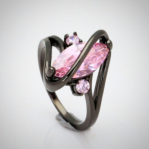 Twisted Wire Quality Cubic Zircon Wrap Ring Pink