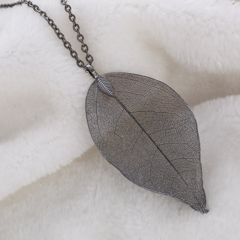 Twisted Wire Natural Leaf Necklace Gunmetal Black