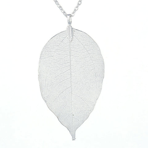 Twisted Wire Natural Leaf Necklace Silver