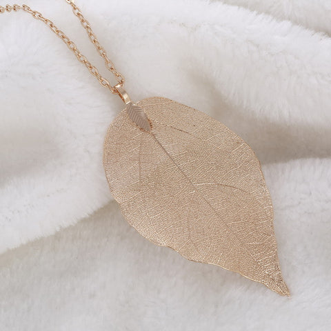 Twisted Wire Natural Leaf Necklace Vintage Gold