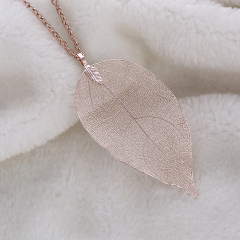 Twisted Wire Natural Leaf Necklace Rose Gold