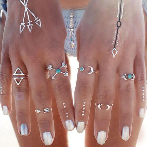 Twisted Wire - Sun & Moon Ring Set 2