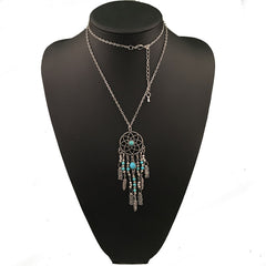 Twisted Wire Dreamcatcher Necklace Silver