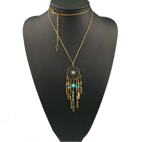 buy Dreamcatcher Turquoise Long Necklace Twisted Wire