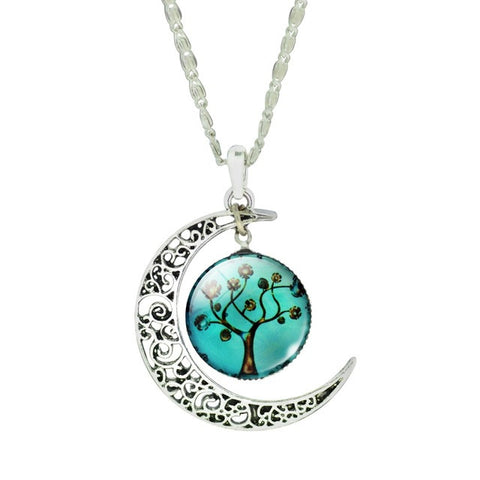 buy Tree Of Life Glass Domed Moon Necklace Twisted Wire