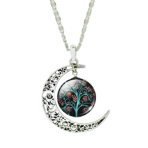 Twisted Wire Tree Moon Necklace 2