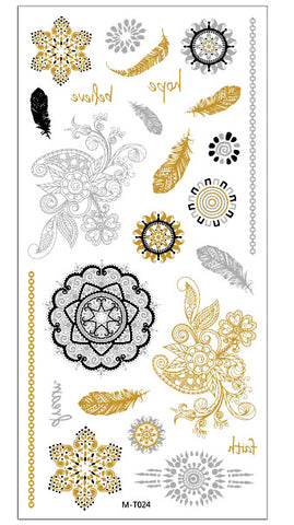 Gold, Silver and Black tattoos
