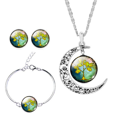Moon Necklace, Earrings, Bracelet Set