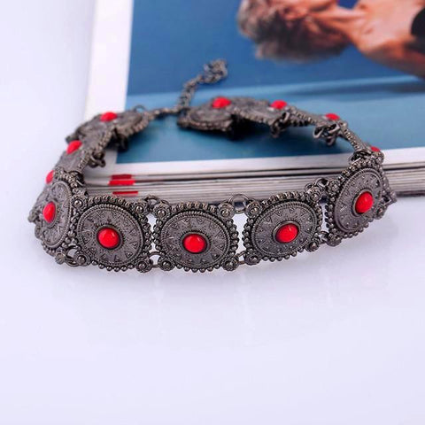 Twisted Wire Fashionable Bead Choker Red Black