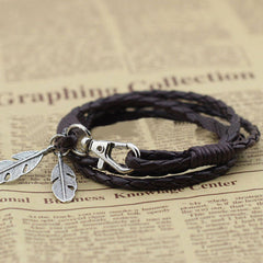 buy Free-Spirit Leather Bracelet Twisted Wire