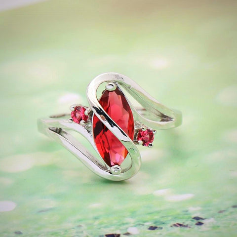 Twisted Wire Quality Cubic Zircon Wrap Ring Red2