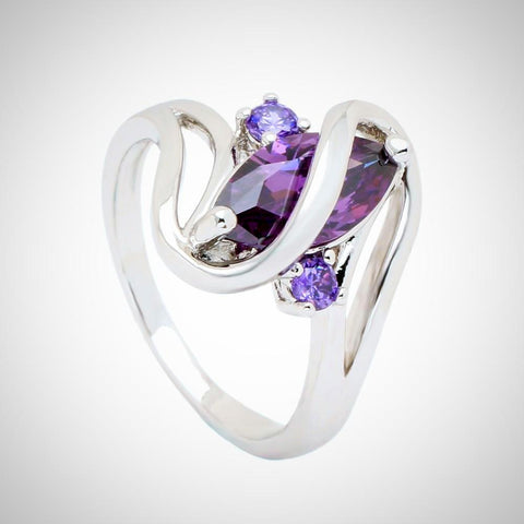 Twisted Wire Quality Cubic Zircon Wrap Ring Purple2