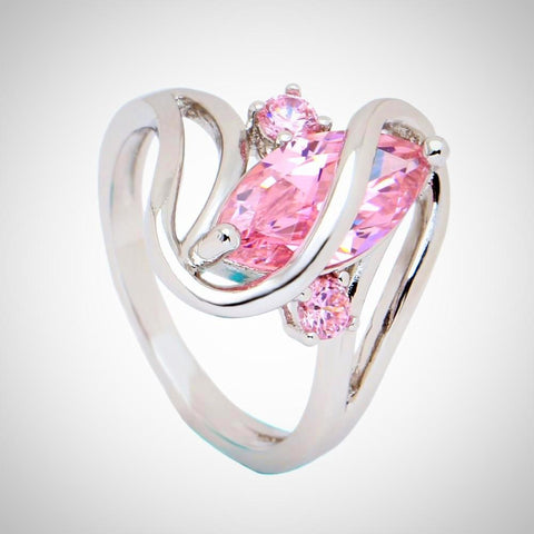 Twisted Wire Quality Cubic Zircon Wrap Ring Pink2