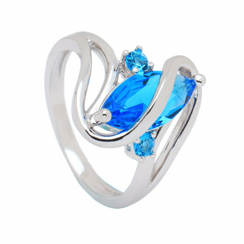 Twisted Wire Quality Cubic Zircon Wrap Ring Blue2