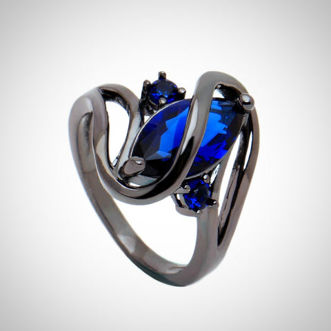 Twisted Wire Quality Cubic Zircon Wrap Ring DBlue