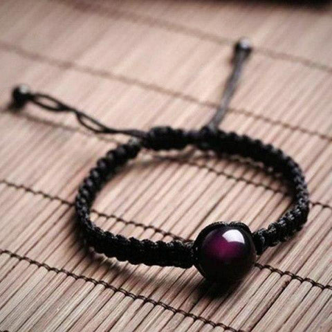 buy Hand Woven Obsidian Bracelet Twisted Wire