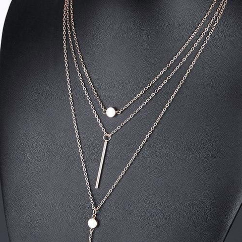 buy Multi Layer Tassel Bar Necklace Twisted Wire
