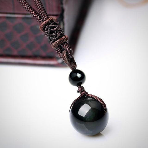 Twisted Wire - Rainbow Eye Black Obsidian Necklace 3