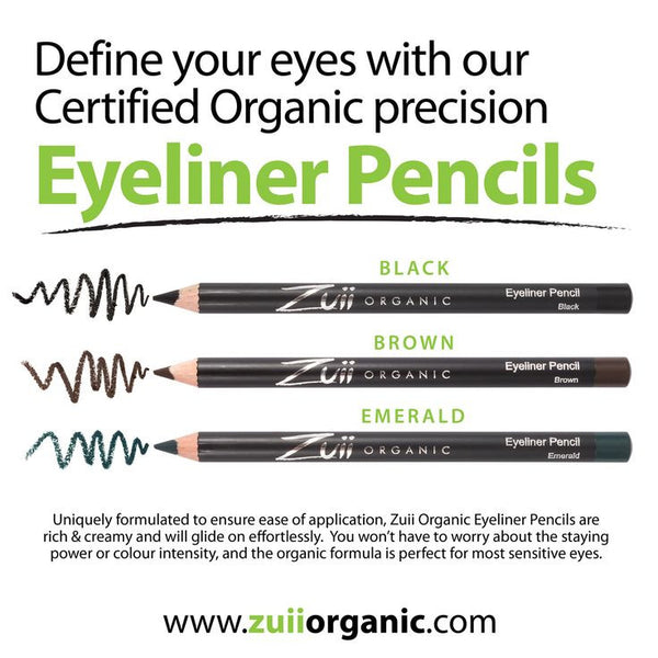 100% Certified Organic Eyeliner Pencil 'Black' by Zuii Certified Organics Australia - ArabianGlitz