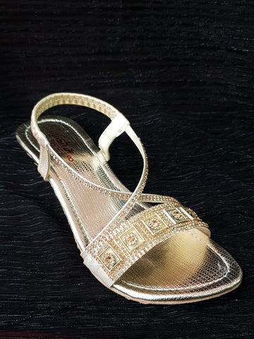 Single Strip Gold Diamante Sandal