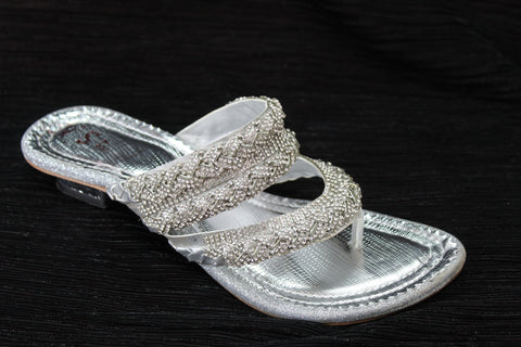 Silver Embroidered Mule Sandal