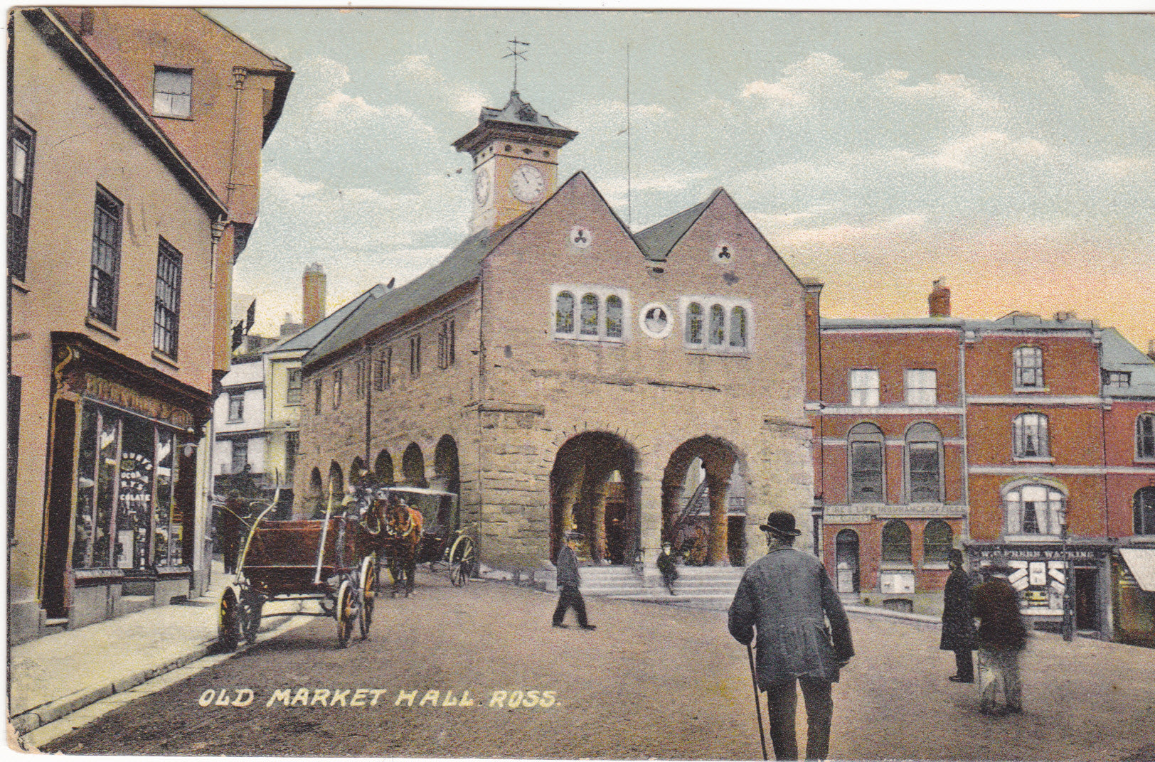 Market Hall, Ross on Wye postcard