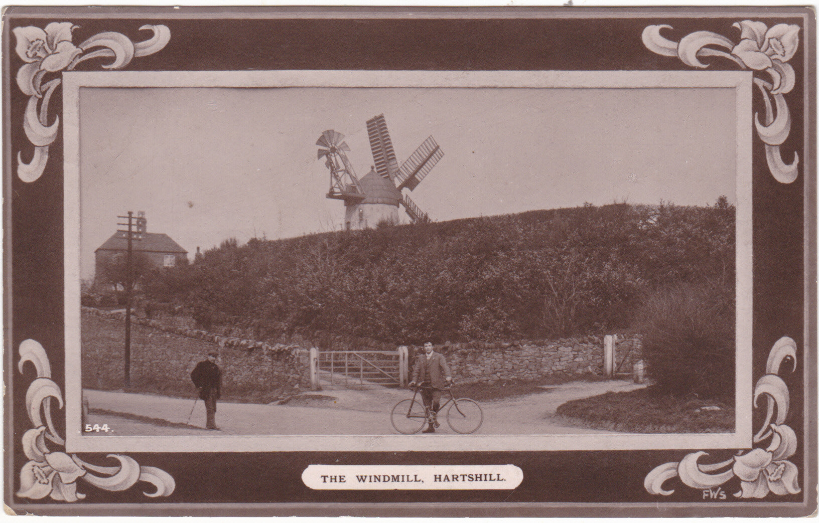 The Windmill, Hartshill - old real photo postcard