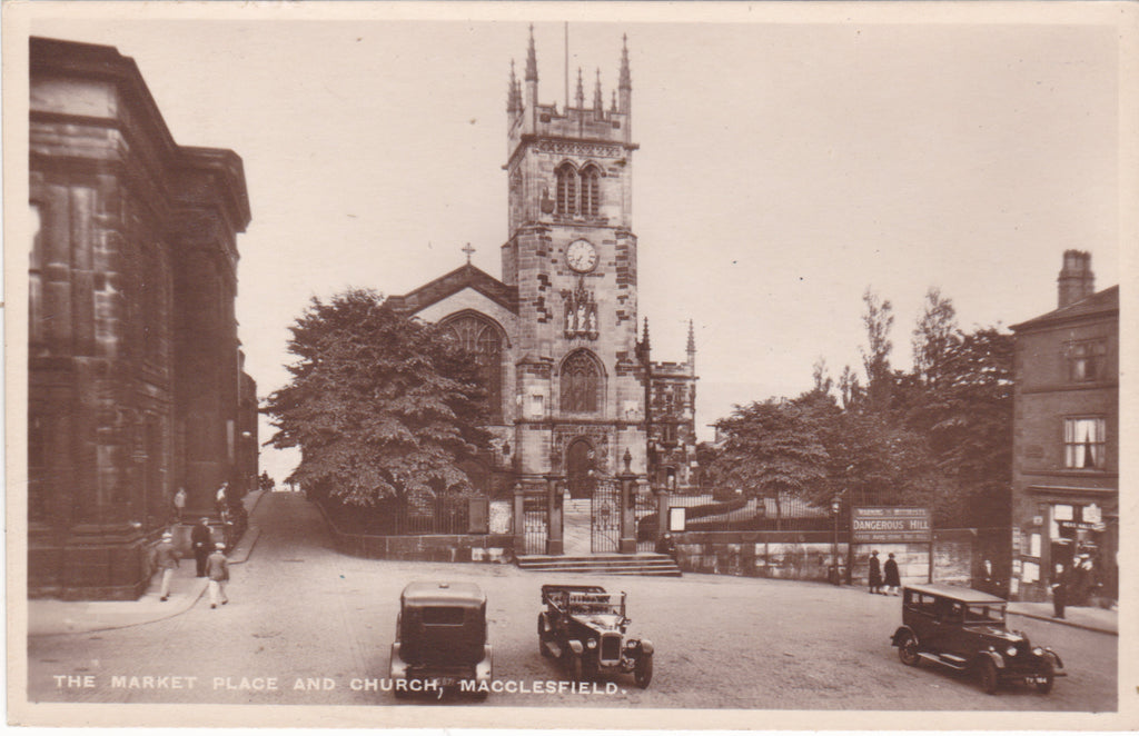 Macclesfield Market Place & Church, vintage postcard