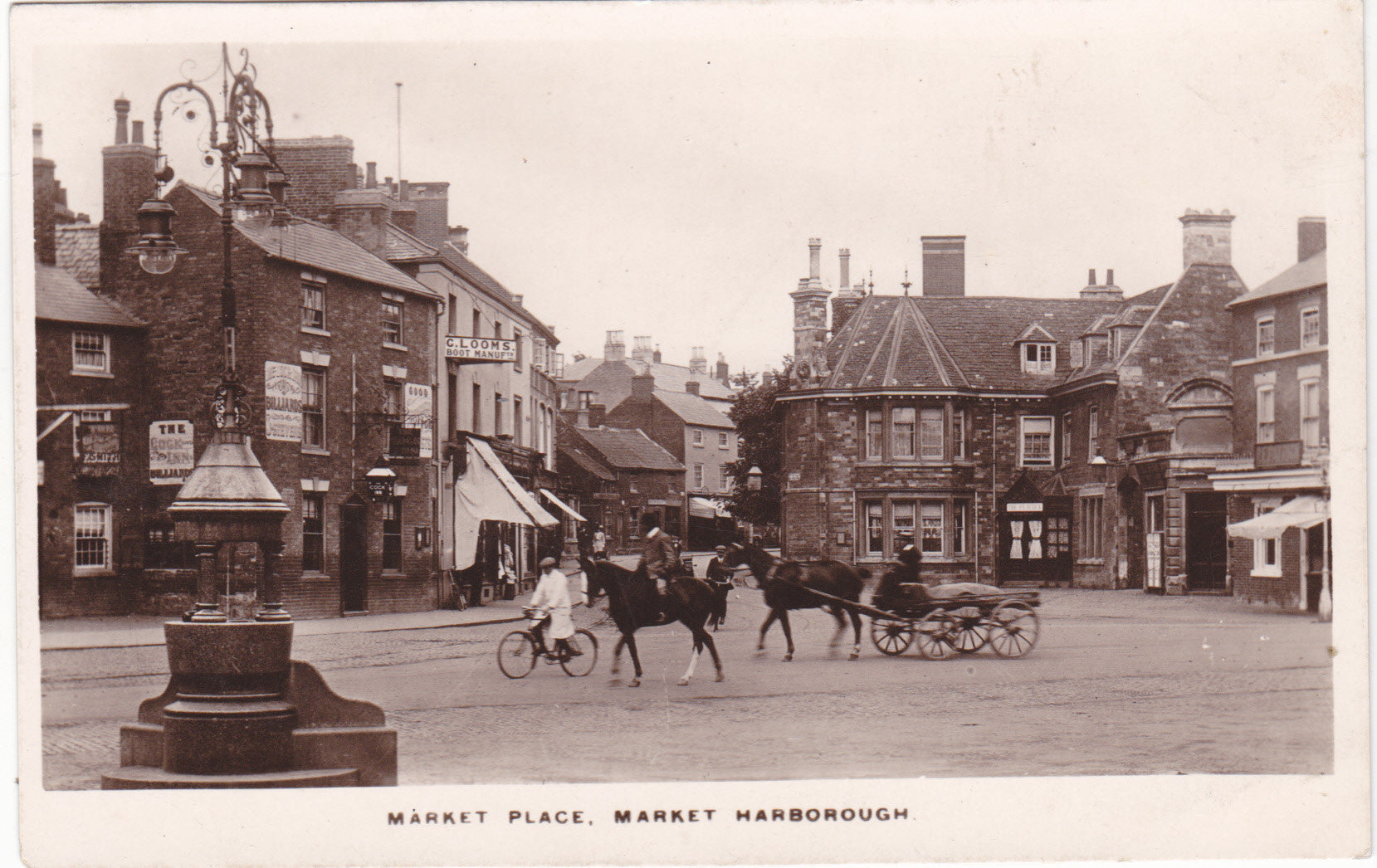 Market Place, Market Harborough, old real photo postcard