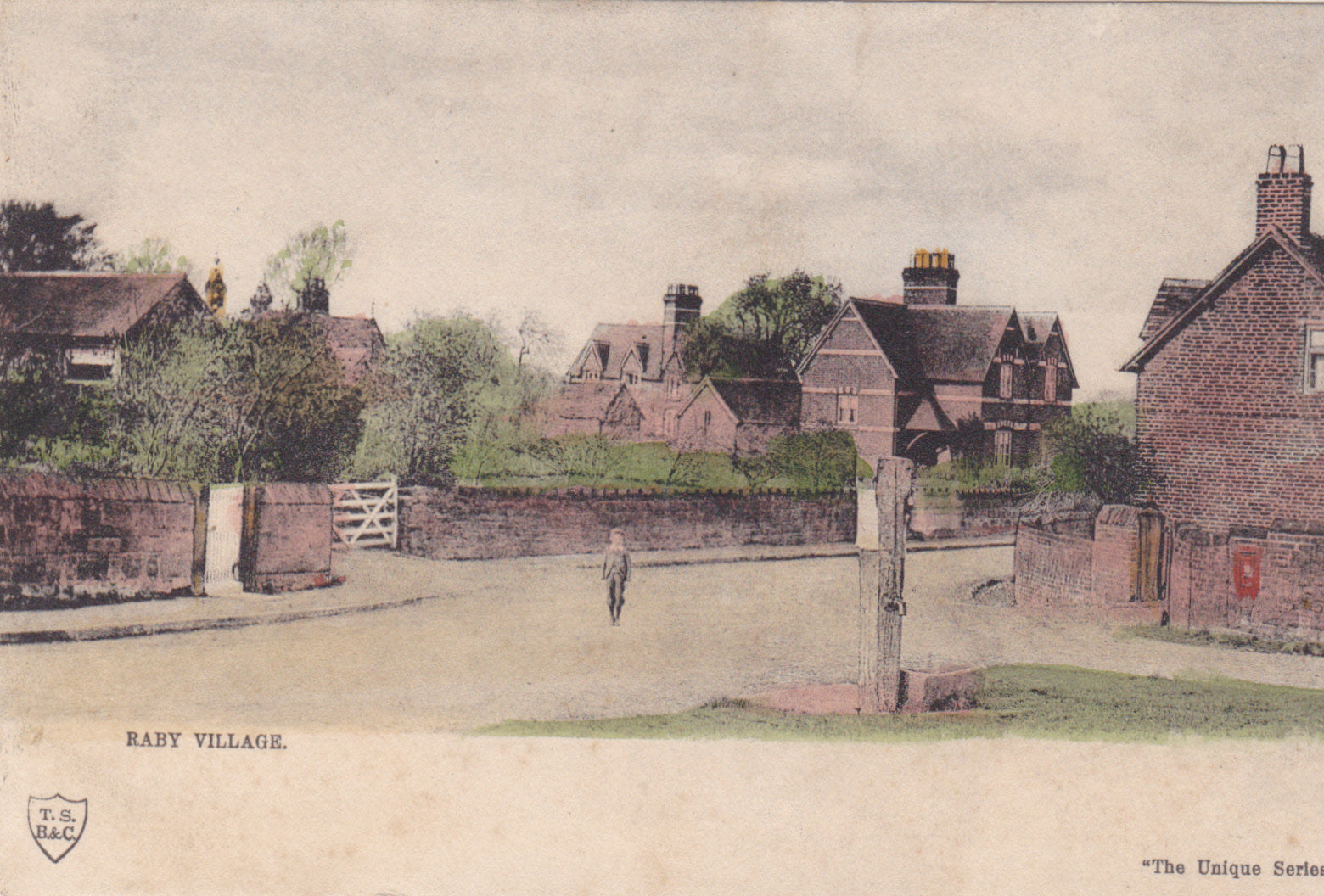 Raby Village, Wirral, old postcard