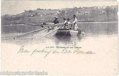 PECHEURS AU LAC LEMAN - OLD POSTCARD - FRANCE/SWITZERLAND (ref 2058)