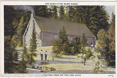 LOG CABIN IN THE MAINE WOODS, GREETINGS FROM PINE TREE STATE - (ref 6775/13)