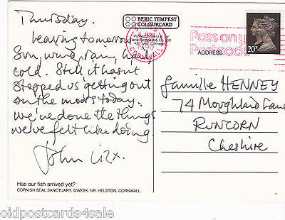 CORNISH SEAL SANCTUARY - MODERN SIZE 1990 POSTCARD (ref 7427)