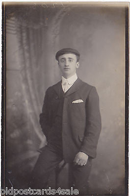 MAN IN CAP - PRE 1918 REAL PHOTO POSTCARD (ref 6351/14)