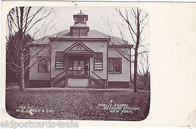 PUBLIC SCHOOL, BEDFORD STATION, NEW YORK - OLD POSTCARD (ref DEB3329)