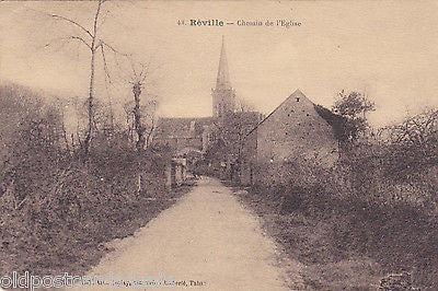 REVILLE, FRANCE - CHEMIN DE l'EGLISE - OLD POSTCARD (ref 3429)