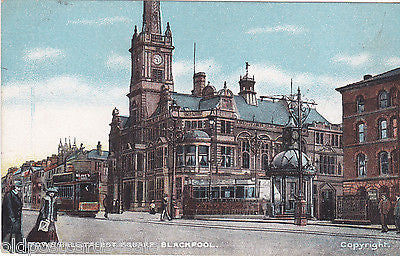 TOWN HALL, TALBOT SQUARE, BLACKPOOL - OLD POSTCARD (ref 7318/14/A)