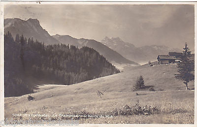 LA COMBALLAZ - LE CHAMOSSAIRE ET DENTS DU MIDI - 1920s REAL PHOTO (ref 2538/15)
