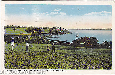 PUMP STATION, GOLF LINKS AND COUNTRY CLUB, GENEVA, N.Y - 1922 POSTCARD (ref 4820)