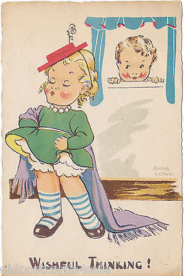 WISHFUL THINKING! - ANNA LOWE - CHILDREN - 1948 POSTCARD (ref 2750)