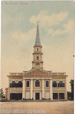 THE CHURCH - MEERUT - 1912 INDIA POSTCARD (our ref 2597)