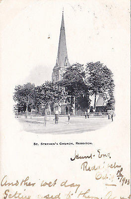 St Stephen's Church, Redditch - old postcard