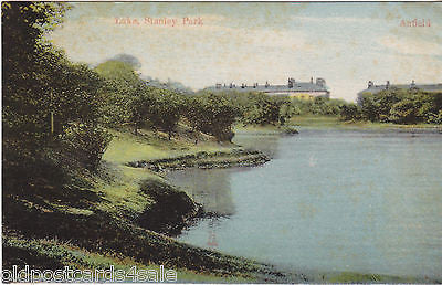 Old postcard of The Lake, Stanley Park, Liverpool, 1928